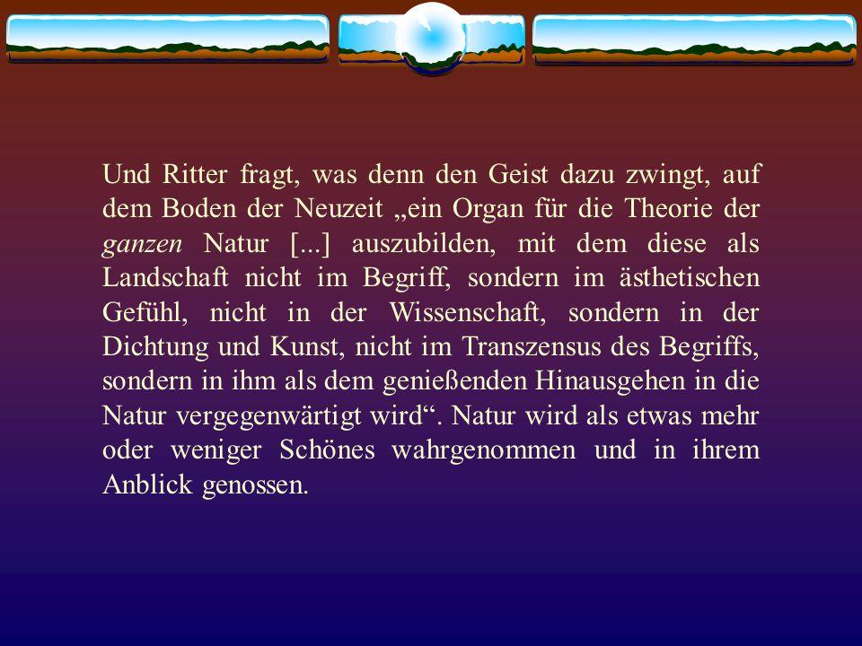 Und Ritter fragt, was denn den Geist dazu zwingt, auf dem Boden der Neuzeit ein Organ für die Theorie der ganzen Natur [...] auszubilden, mit dem dies