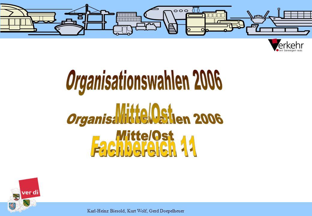 Karl-Heinz Biesold, Kurt Wolf, Gerd Doepelheuer Stichtag zur Berechnung von Delegiertenmandaten ist nach Beschluss desGewerkschaftsrates grundsätzlich der 31.12.2005.