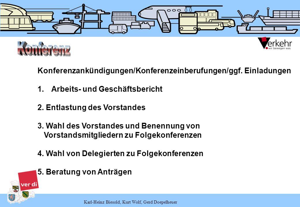 Karl-Heinz Biesold, Kurt Wolf, Gerd Doepelheuer Konferenzankündigungen/Konferenzeinberufungen/ggf. Einladungen 1.Arbeits- und Geschäftsbericht 2. Entl