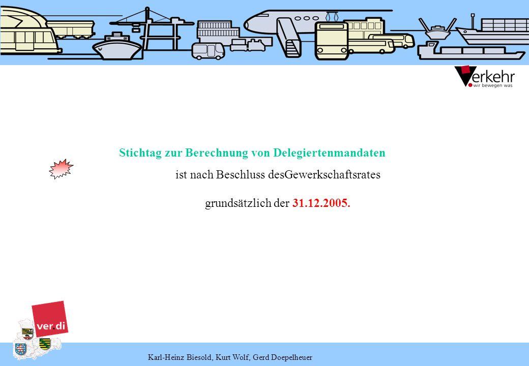 Karl-Heinz Biesold, Kurt Wolf, Gerd Doepelheuer Stichtag zur Berechnung von Delegiertenmandaten ist nach Beschluss desGewerkschaftsrates grundsätzlich