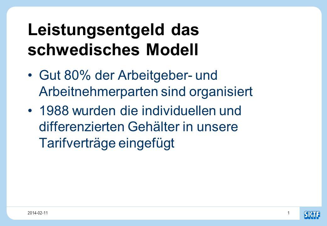 12014-02-11 Leistungsentgeld das schwedisches Modell Gut 80% der Arbeitgeber- und Arbeitnehmerparten sind organisiert 1988 wurden die individuellen und differenzierten Gehälter in unsere Tarifverträge eingefügt
