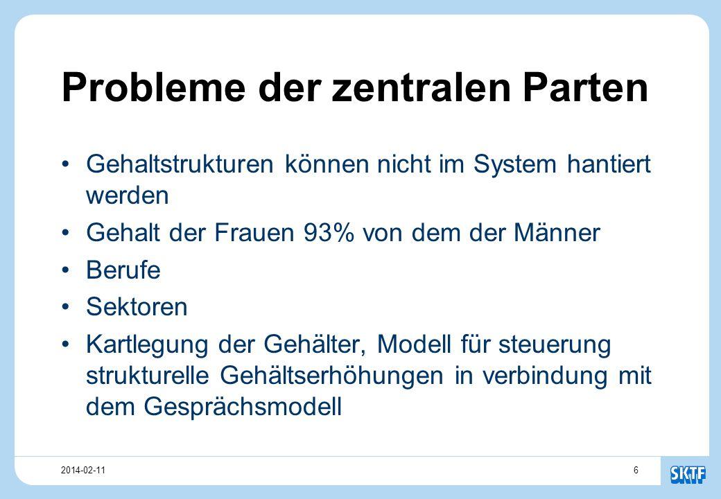 62014-02-11 Probleme der zentralen Parten Gehaltstrukturen können nicht im System hantiert werden Gehalt der Frauen 93% von dem der Männer Berufe Sektoren Kartlegung der Gehälter, Modell für steuerung strukturelle Gehältserhöhungen in verbindung mit dem Gesprächsmodell
