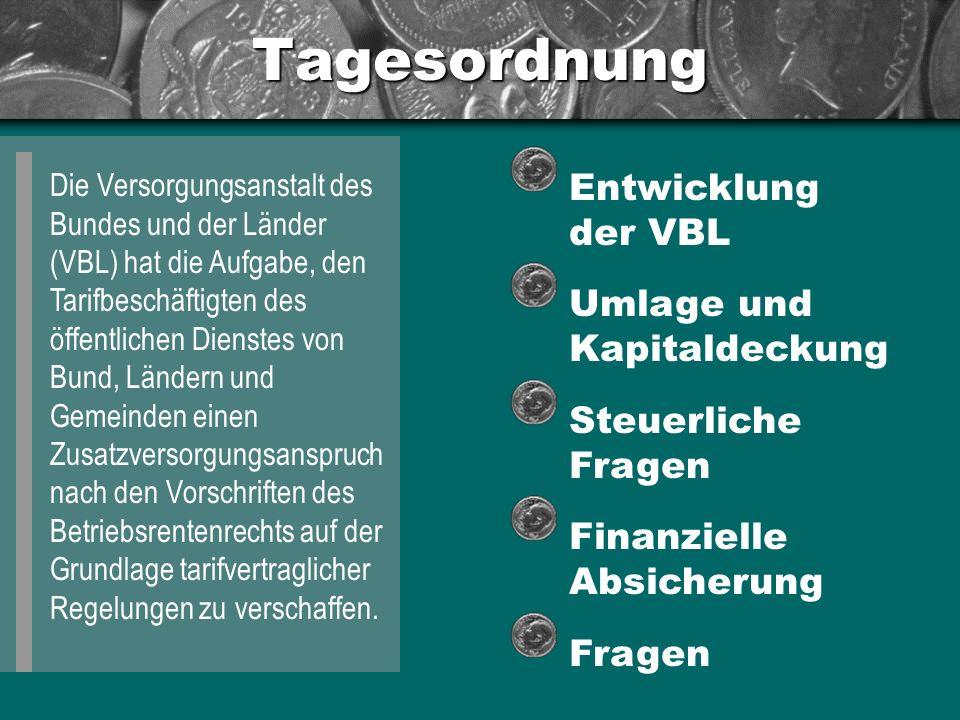 Tagesordnung Die Versorgungsanstalt des Bundes und der Länder (VBL) hat die Aufgabe, den Tarifbeschäftigten des öffentlichen Dienstes von Bund, Länder