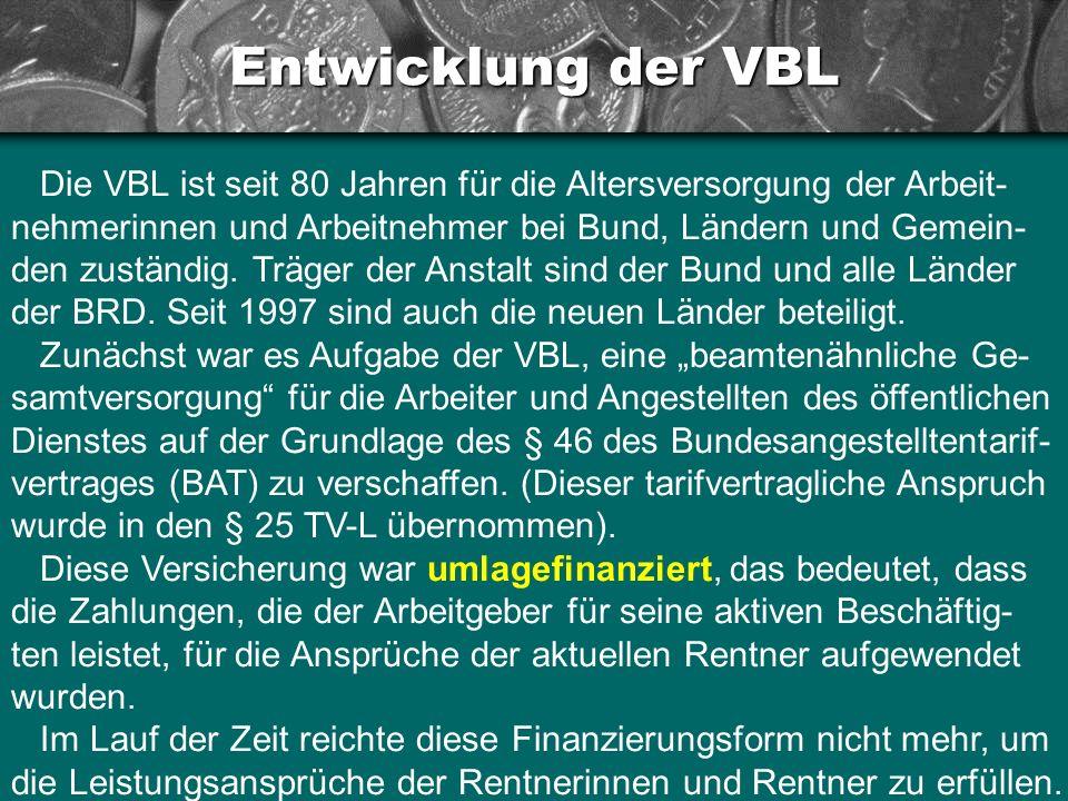 Entwicklung der VBL Die VBL ist seit 80 Jahren für die Altersversorgung der Arbeit- nehmerinnen und Arbeitnehmer bei Bund, Ländern und Gemein- den zus