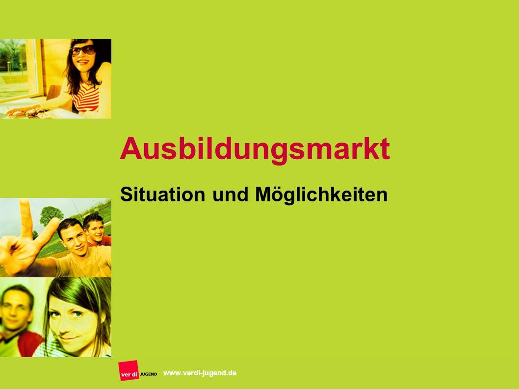 www.verdi-jugend.de Ausbildungsmarkt Situation und Möglichkeiten