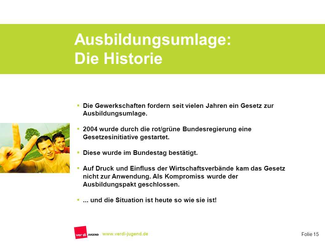 Folie 15 www.verdi-jugend.de Ausbildungsumlage: Die Historie Die Gewerkschaften fordern seit vielen Jahren ein Gesetz zur Ausbildungsumlage. 2004 wurd