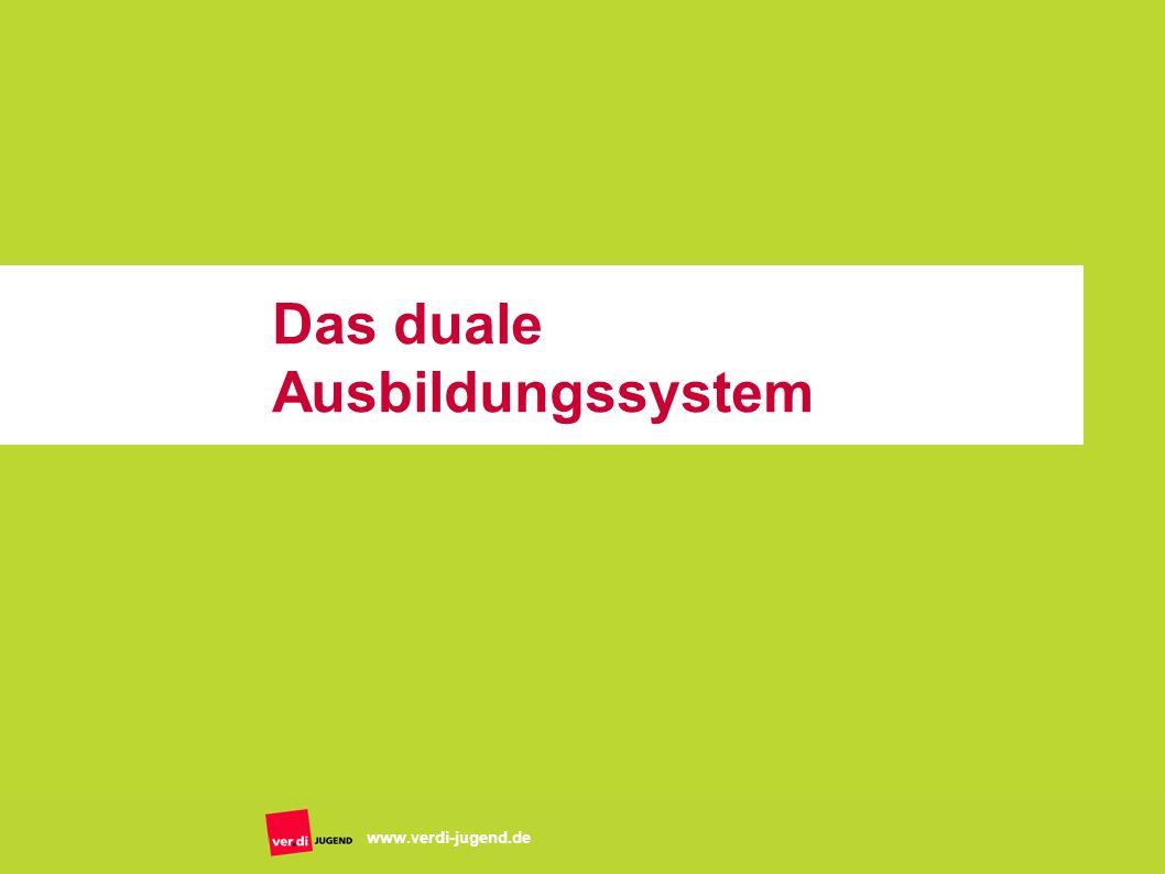 Folie 8 www.verdi-jugend.de Das Ausbildungssystem Merkmale: Grundlage ist das Berufsbildungsgesetz zwei Lernorte – Ausbildungsbetrieb und Berufsschule ca.