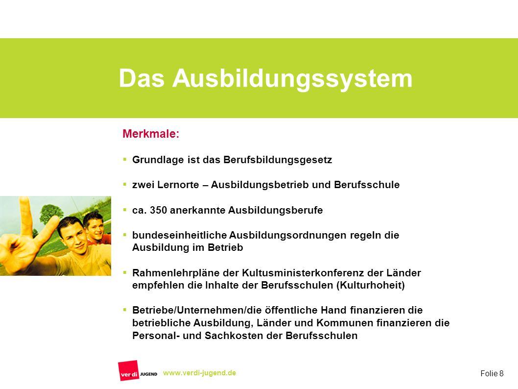 Folie 8 www.verdi-jugend.de Das Ausbildungssystem Merkmale: Grundlage ist das Berufsbildungsgesetz zwei Lernorte – Ausbildungsbetrieb und Berufsschule