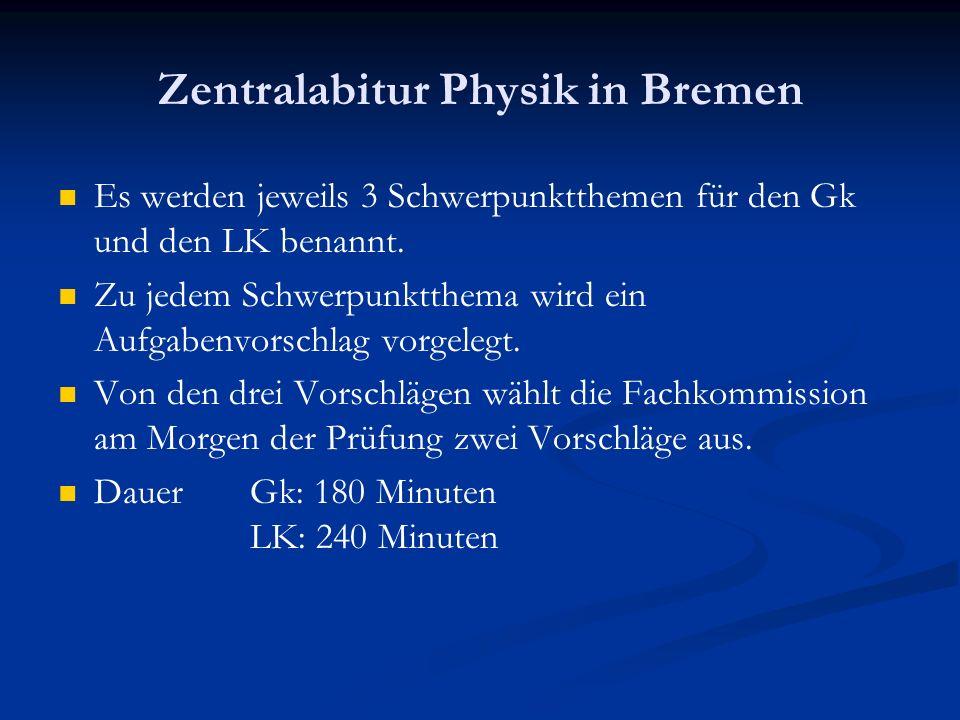 Zentralabitur Physik in Bremen Es werden jeweils 3 Schwerpunktthemen für den Gk und den LK benannt. Zu jedem Schwerpunktthema wird ein Aufgabenvorschl
