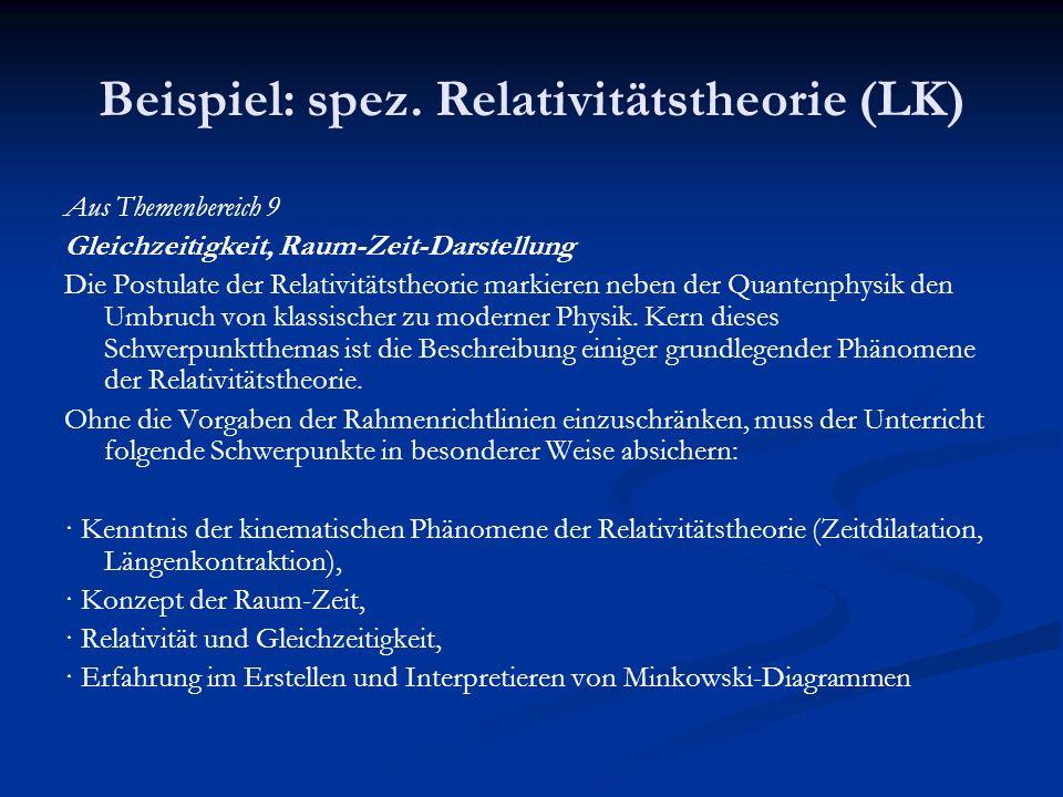 Beispiel: spez. Relativitätstheorie (LK) Aus Themenbereich 9 Gleichzeitigkeit, Raum-Zeit-Darstellung Die Postulate der Relativitätstheorie markieren n