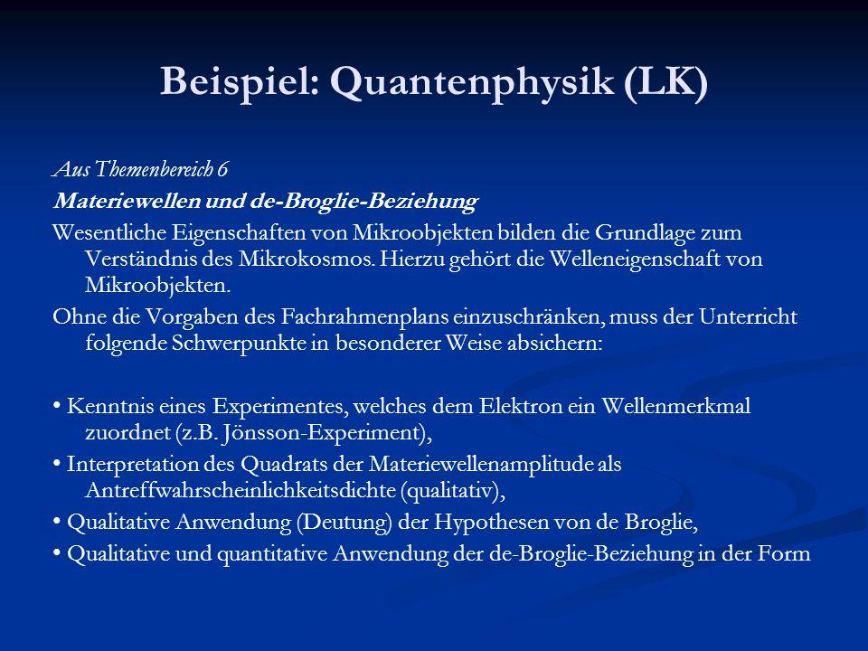 Beispiel: Quantenphysik (LK) Aus Themenbereich 6 Materiewellen und de-Broglie-Beziehung Wesentliche Eigenschaften von Mikroobjekten bilden die Grundla