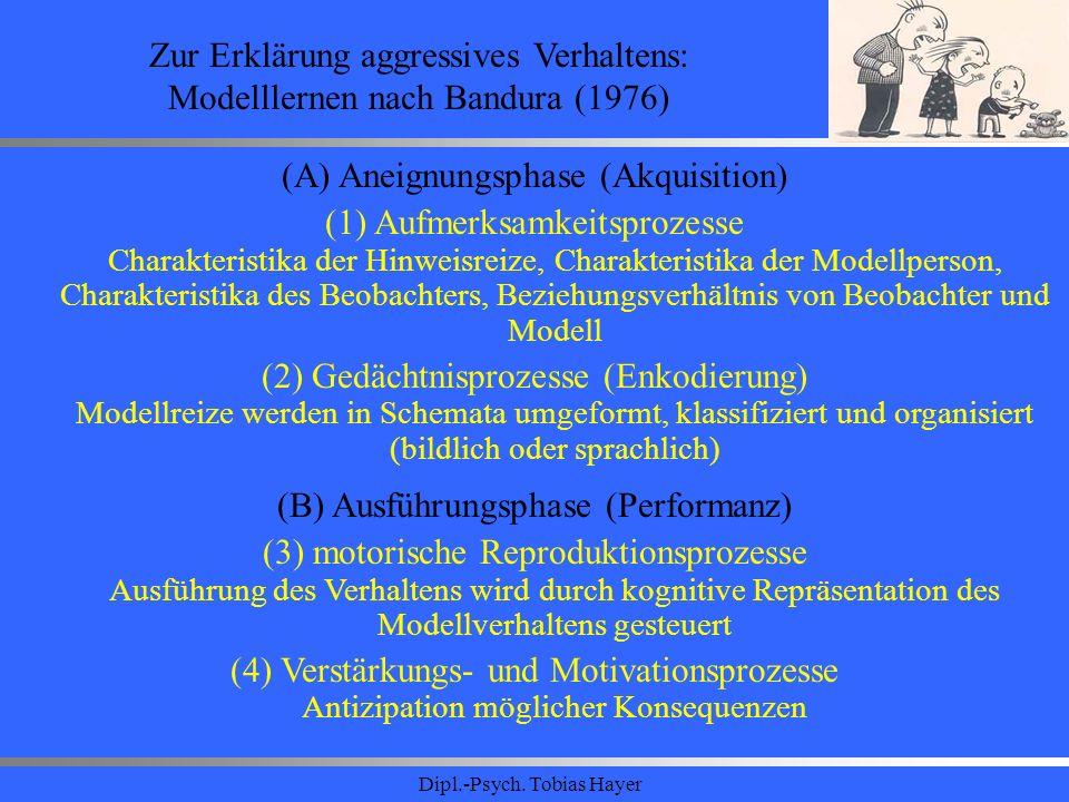 Dipl.-Psych. Tobias Hayer Zur Erklärung aggressives Verhaltens: Modelllernen nach Bandura (1976) (A) Aneignungsphase (Akquisition) (1) Aufmerksamkeits