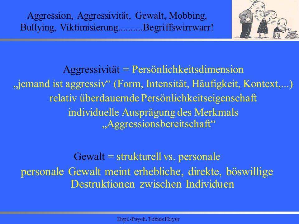 Dipl.-Psych. Tobias Hayer Aggression, Aggressivität, Gewalt, Mobbing, Bullying, Viktimisierung..........Begriffswirrwarr! Aggressivität = Persönlichke