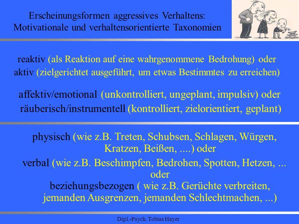Dipl.-Psych. Tobias Hayer Erscheinungsformen aggressives Verhaltens: Motivationale und verhaltensorientierte Taxonomien reaktiv (als Reaktion auf eine