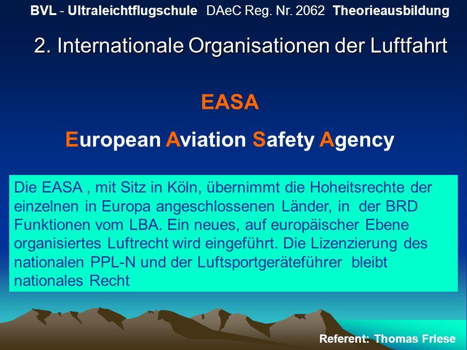 2. Internationale Organisationen der Luftfahrt BVL - Ultraleichtflugschule DAeC Reg. Nr. 2062 Theorieausbildung Referent: Thomas Friese EASA European