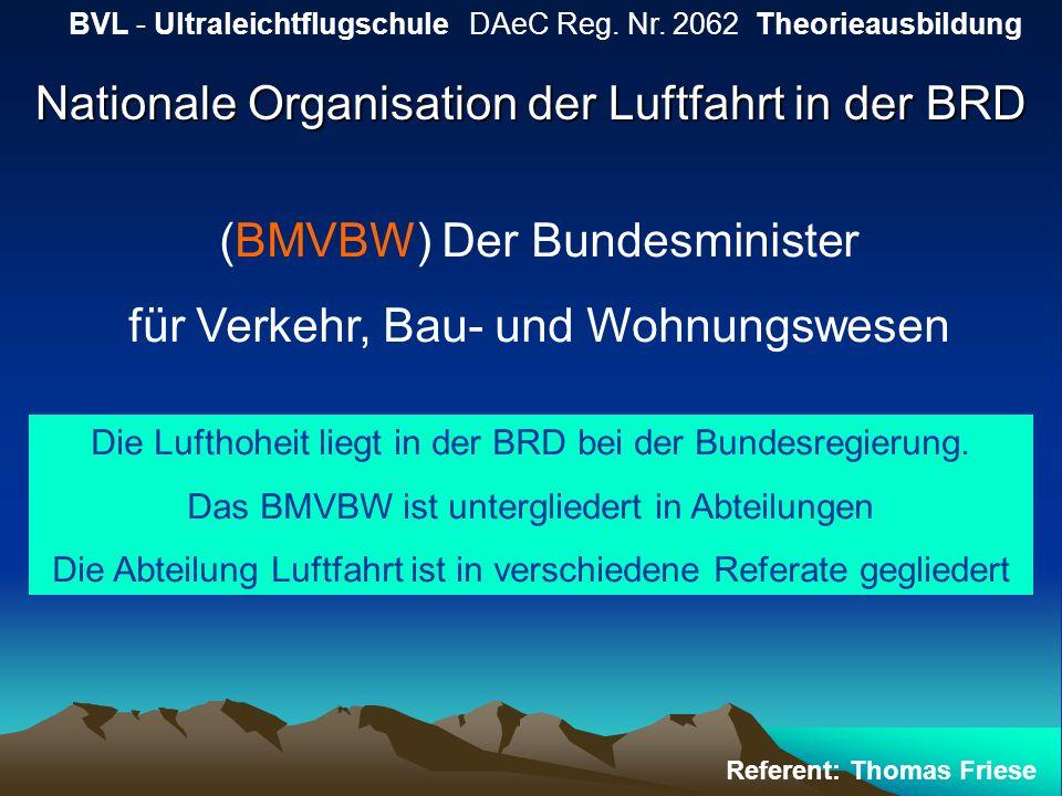Nationale Organisation der Luftfahrt in der BRD BVL - Ultraleichtflugschule DAeC Reg. Nr. 2062 Theorieausbildung Referent: Thomas Friese (BMVBW) Der B