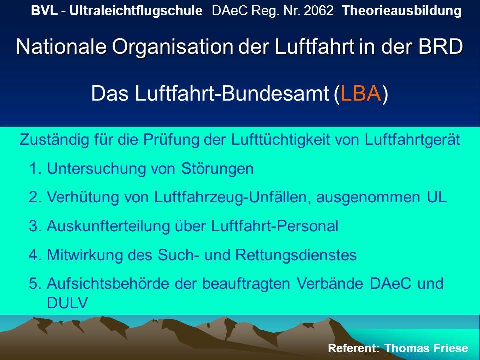 Nationale Organisation der Luftfahrt in der BRD BVL - Ultraleichtflugschule DAeC Reg. Nr. 2062 Theorieausbildung Referent: Thomas Friese Das Luftfahrt