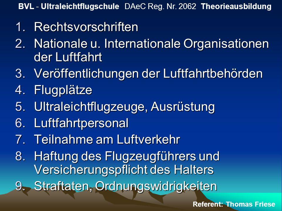 1.Rechtsvorschriften 2.Nationale u. Internationale Organisationen der Luftfahrt 3.Veröffentlichungen der Luftfahrtbehörden 4.Flugplätze 5.Ultraleichtf