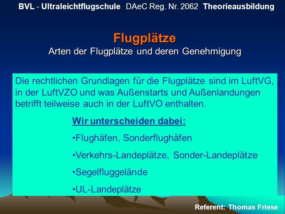 Flugplätze Arten der Flugplätze und deren Genehmigung BVL - Ultraleichtflugschule DAeC Reg. Nr. 2062 Theorieausbildung Referent: Thomas Friese Die rec