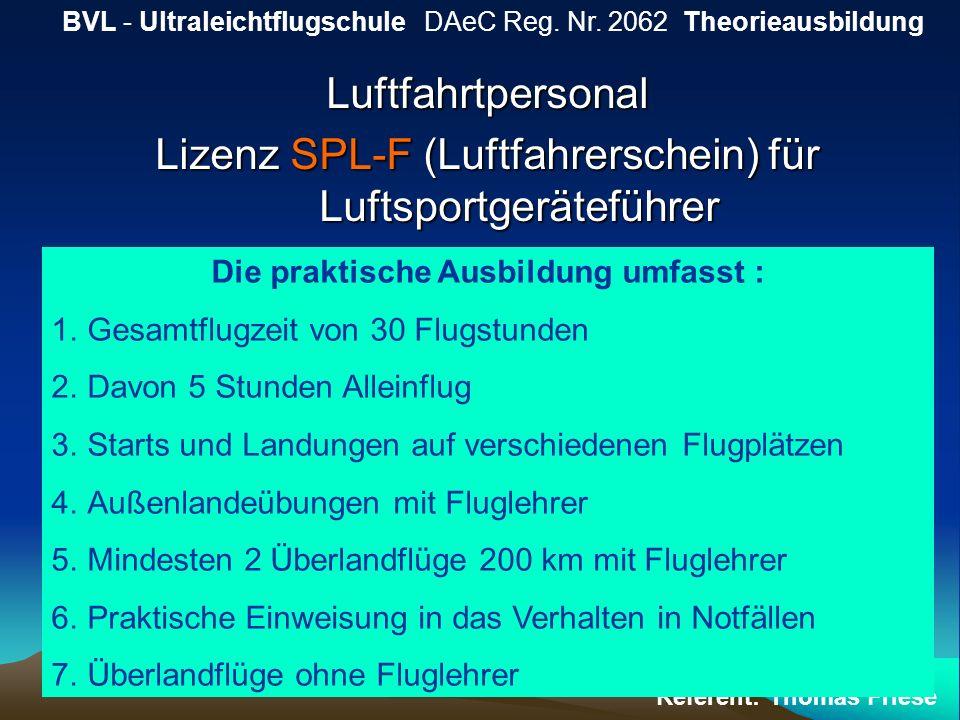 Luftfahrtpersonal Lizenz SPL-F (Luftfahrerschein) für Luftsportgeräteführer BVL - Ultraleichtflugschule DAeC Reg. Nr. 2062 Theorieausbildung Referent: