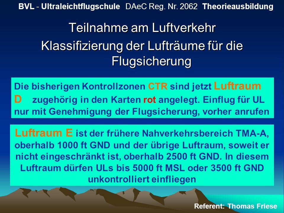 Teilnahme am Luftverkehr Klassifizierung der Lufträume für die Flugsicherung BVL - Ultraleichtflugschule DAeC Reg. Nr. 2062 Theorieausbildung Referent