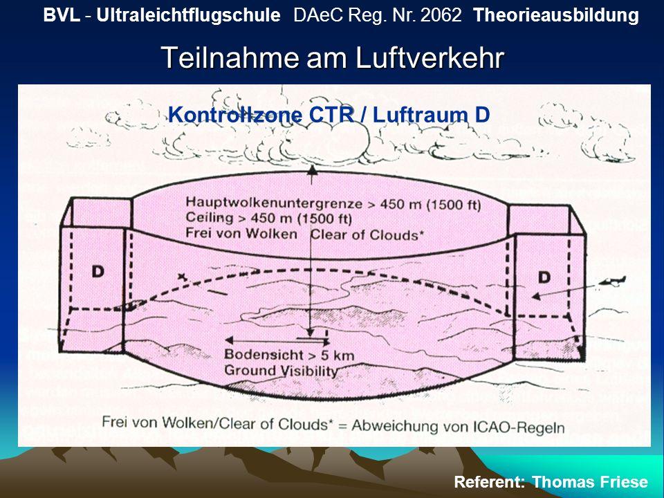 Teilnahme am Luftverkehr BVL - Ultraleichtflugschule DAeC Reg. Nr. 2062 Theorieausbildung Referent: Thomas Friese Kontrollzone CTR / Luftraum D