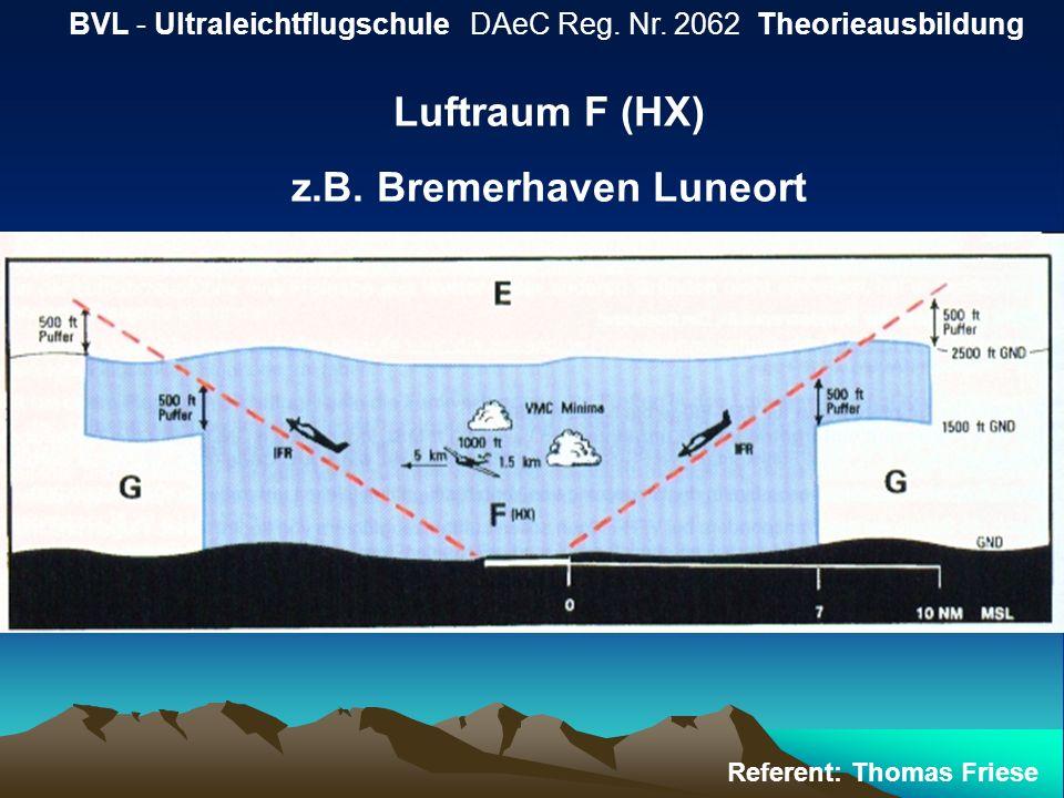 BVL - Ultraleichtflugschule DAeC Reg. Nr. 2062 Theorieausbildung Referent: Thomas Friese Luftraum F (HX) z.B. Bremerhaven Luneort