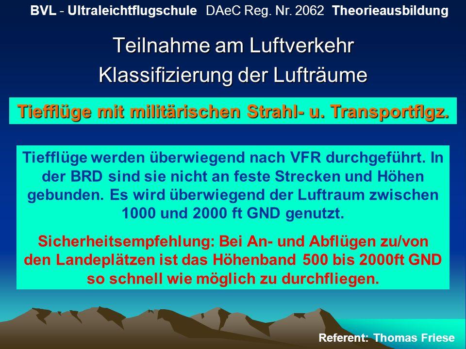 Teilnahme am Luftverkehr Klassifizierung der Lufträume BVL - Ultraleichtflugschule DAeC Reg. Nr. 2062 Theorieausbildung Referent: Thomas Friese Tieffl