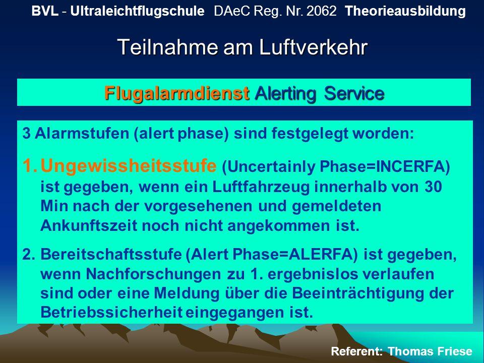 Teilnahme am Luftverkehr BVL - Ultraleichtflugschule DAeC Reg. Nr. 2062 Theorieausbildung Referent: Thomas Friese Flugalarmdienst Alerting Service 3 A