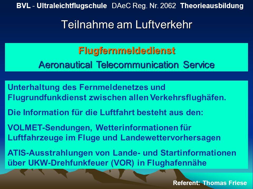 Teilnahme am Luftverkehr BVL - Ultraleichtflugschule DAeC Reg. Nr. 2062 Theorieausbildung Referent: Thomas Friese Flugfernmeldedienst Aeronautical Tel