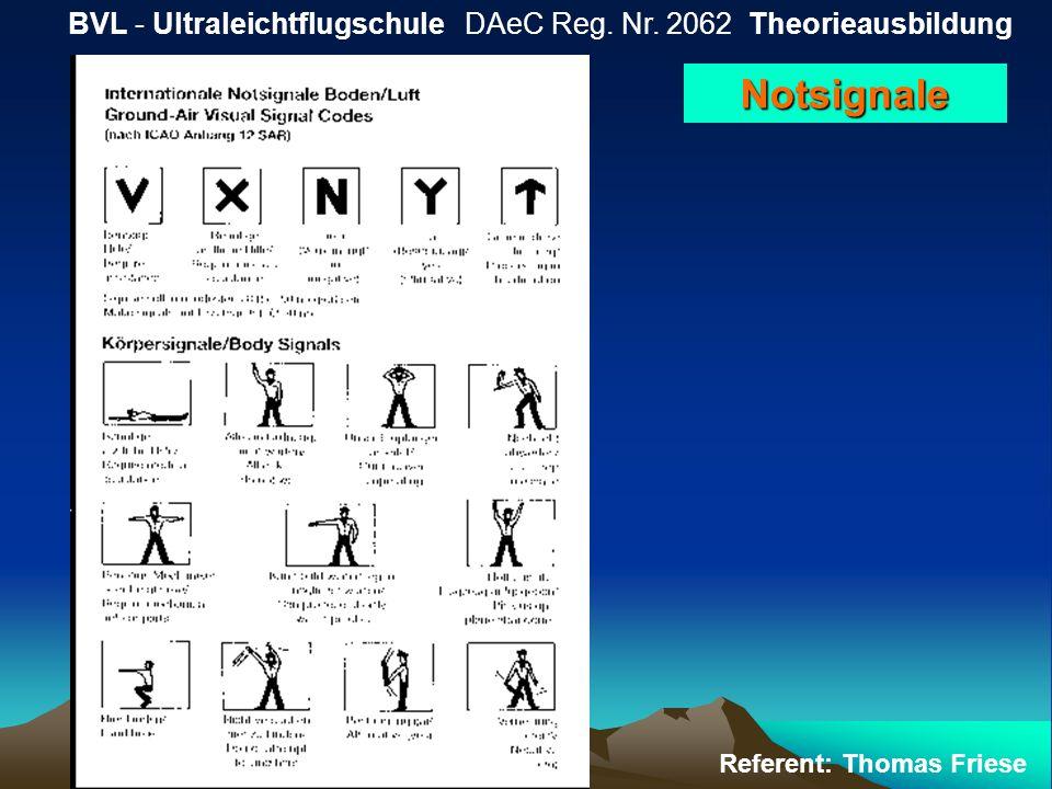 BVL - Ultraleichtflugschule DAeC Reg. Nr. 2062 Theorieausbildung Referent: Thomas Friese Notsignale