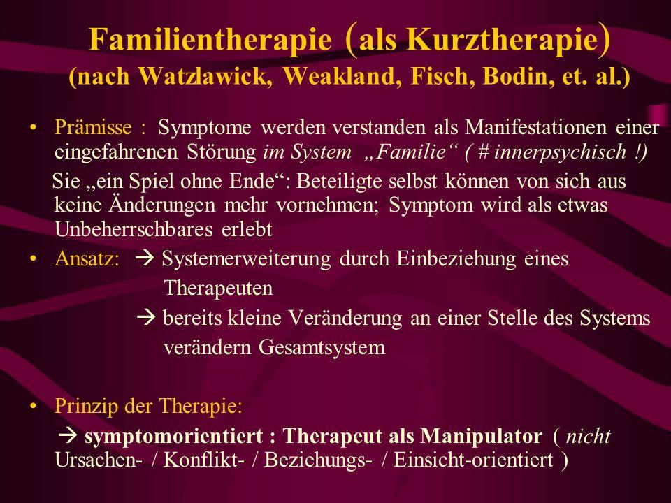 Familientherapie ( als Kurztherapie ) (nach Watzlawick, Weakland, Fisch, Bodin, et. al.) Prämisse : Symptome werden verstanden als Manifestationen ein