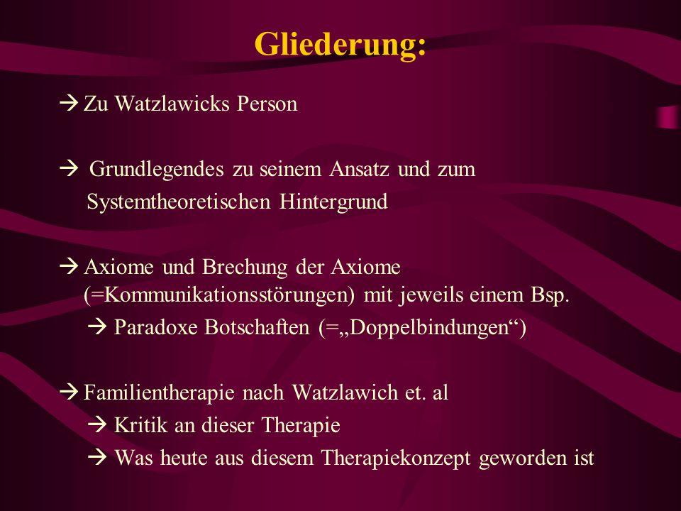 Gliederung: Zu Watzlawicks Person Grundlegendes zu seinem Ansatz und zum Systemtheoretischen Hintergrund Axiome und Brechung der Axiome (=Kommunikatio