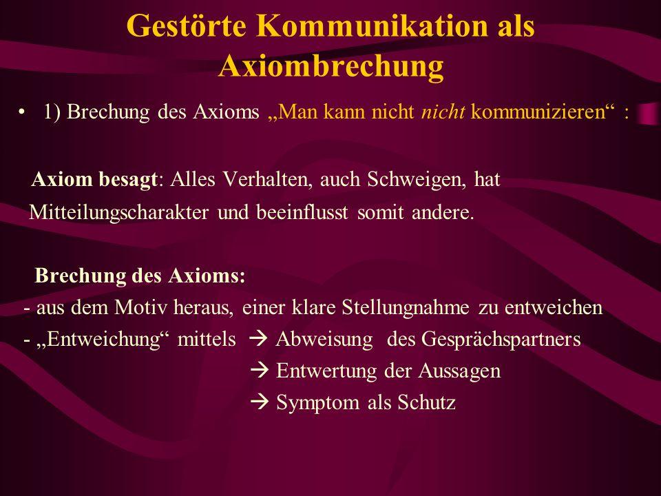 Gestörte Kommunikation als Axiombrechung 1) Brechung des Axioms Man kann nicht nicht kommunizieren : Axiom besagt: Alles Verhalten, auch Schweigen, ha