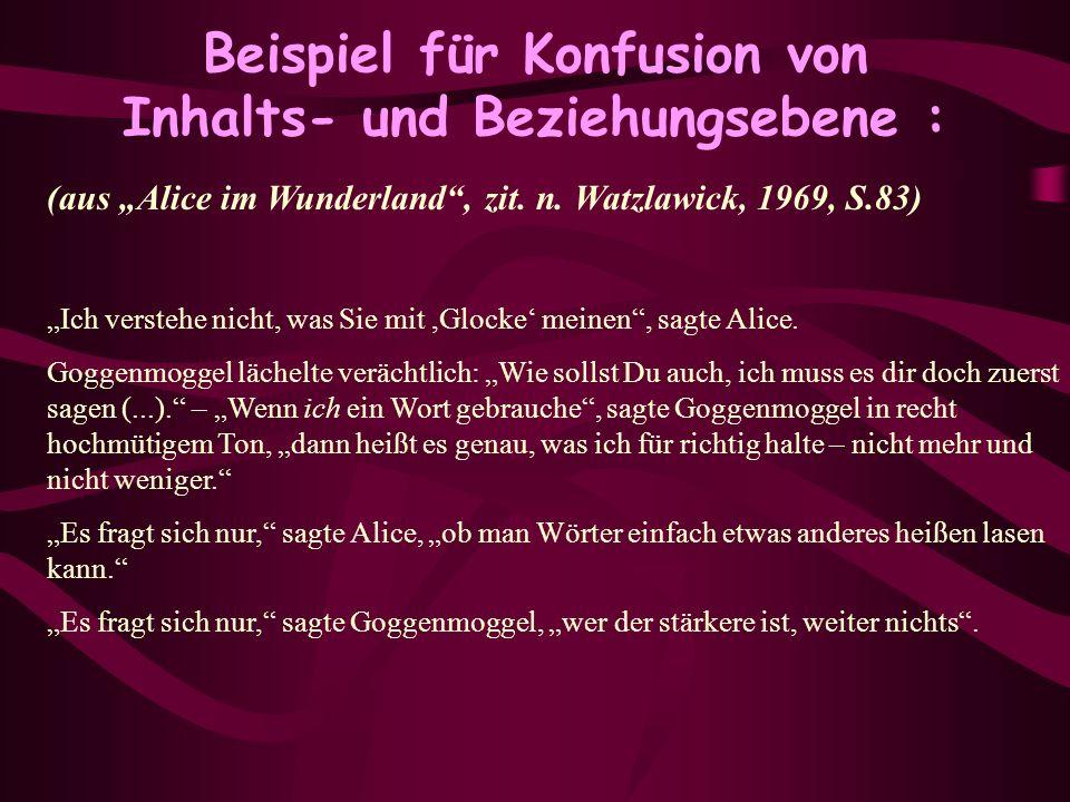 Beispiel für Konfusion von Inhalts- und Beziehungsebene : (aus Alice im Wunderland, zit. n. Watzlawick, 1969, S.83) Ich verstehe nicht, was Sie mit,Gl
