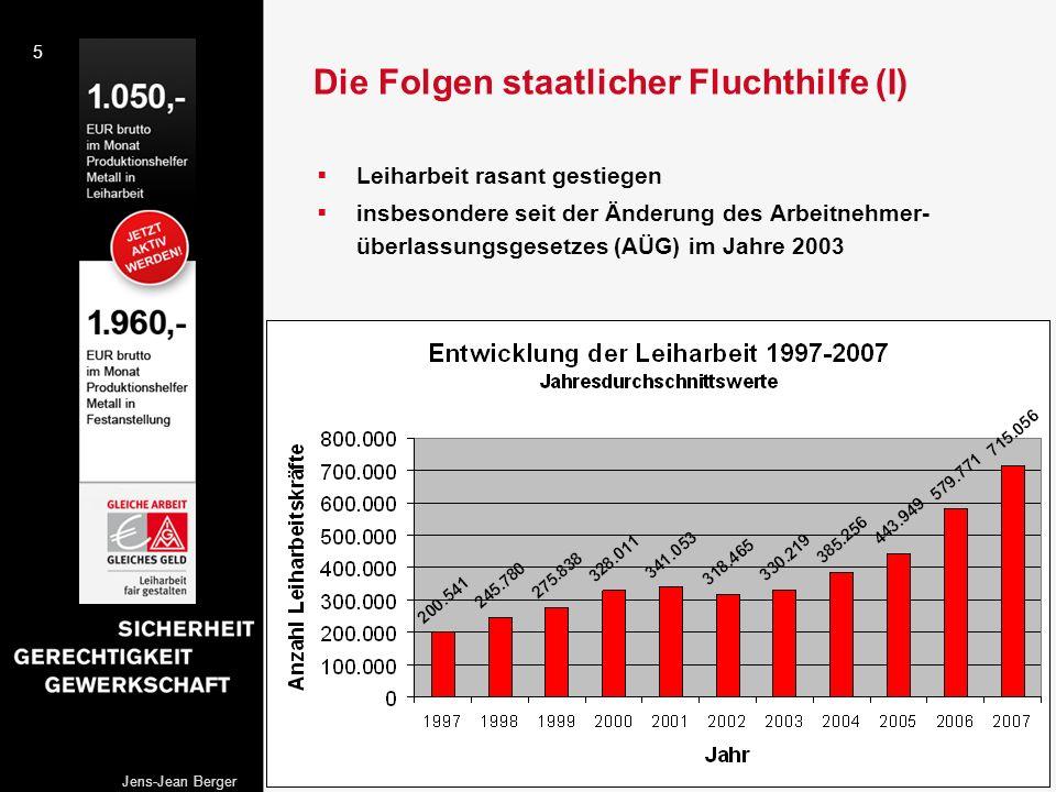 5 Jens-Jean Berger Die Folgen staatlicher Fluchthilfe (I) Leiharbeit rasant gestiegen insbesondere seit der Änderung des Arbeitnehmer- überlassungsges
