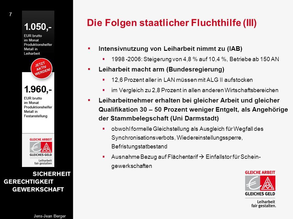 7 Jens-Jean Berger Die Folgen staatlicher Fluchthilfe (III) Intensivnutzung von Leiharbeit nimmt zu (IAB) 1998 -2006: Steigerung von 4,8 % auf 10,4 %,