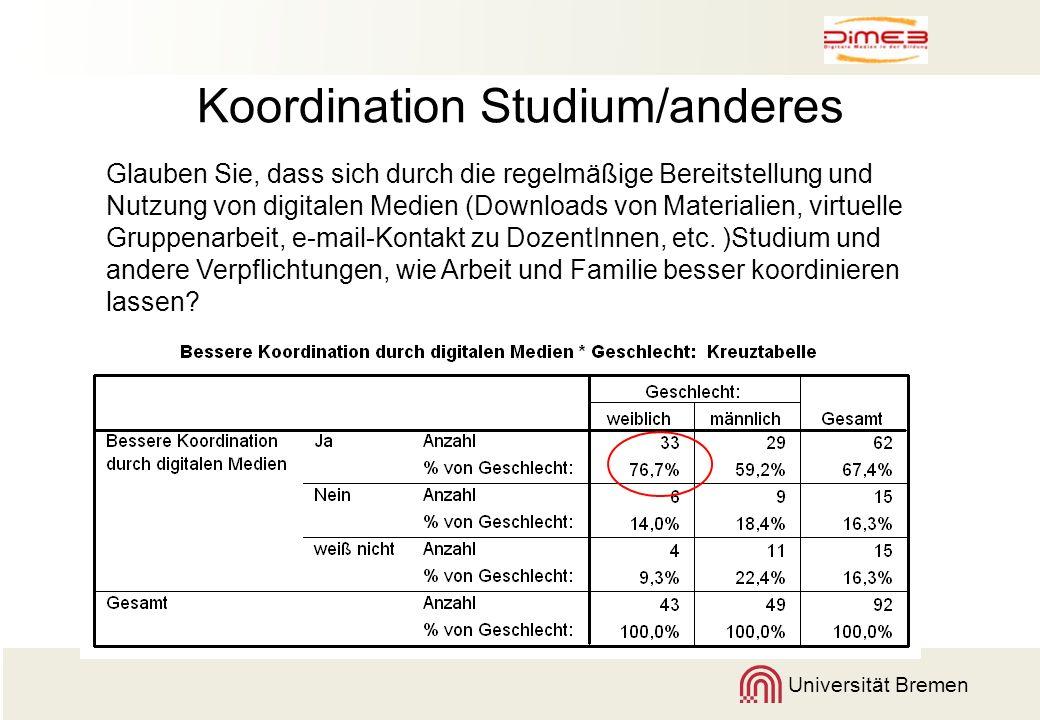 Universität Bremen Koordination Studium/anderes Glauben Sie, dass sich durch die regelmäßige Bereitstellung und Nutzung von digitalen Medien (Download