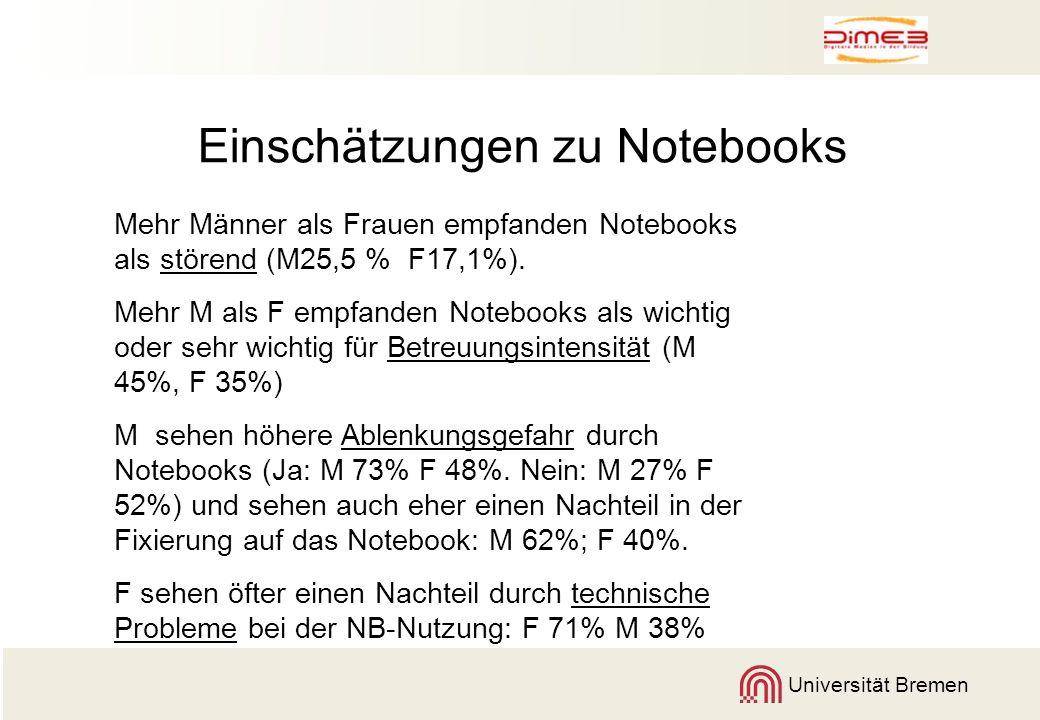 Universität Bremen Einschätzungen zu Notebooks Mehr Männer als Frauen empfanden Notebooks als störend (M25,5 % F17,1%). Mehr M als F empfanden Noteboo