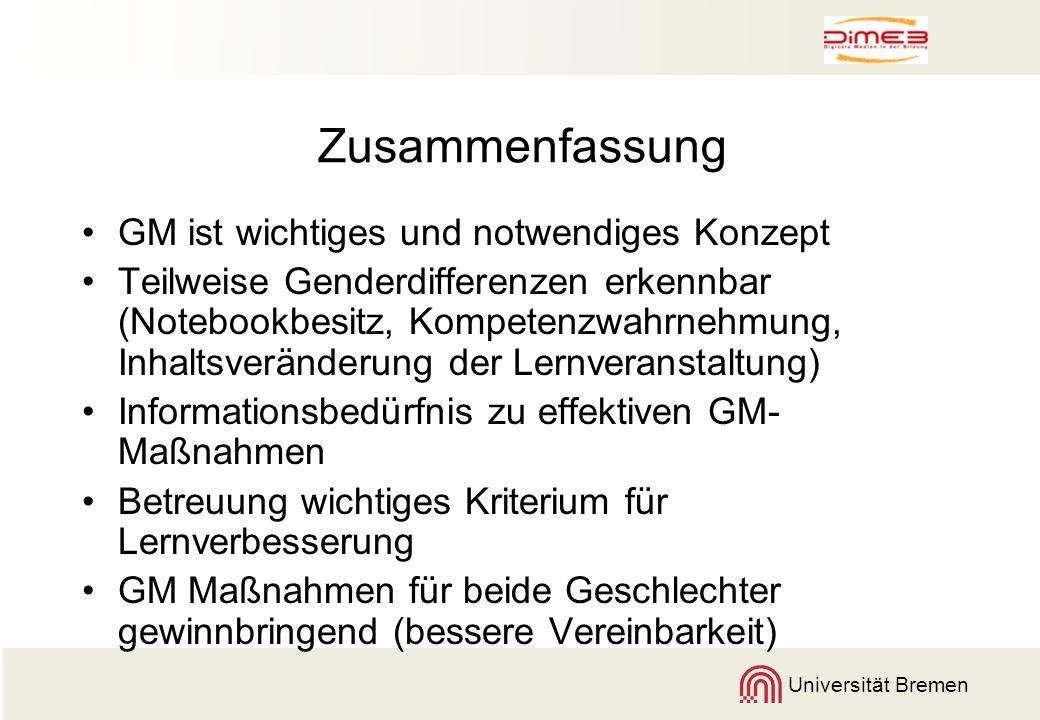 Universität Bremen Zusammenfassung GM ist wichtiges und notwendiges Konzept Teilweise Genderdifferenzen erkennbar (Notebookbesitz, Kompetenzwahrnehmun