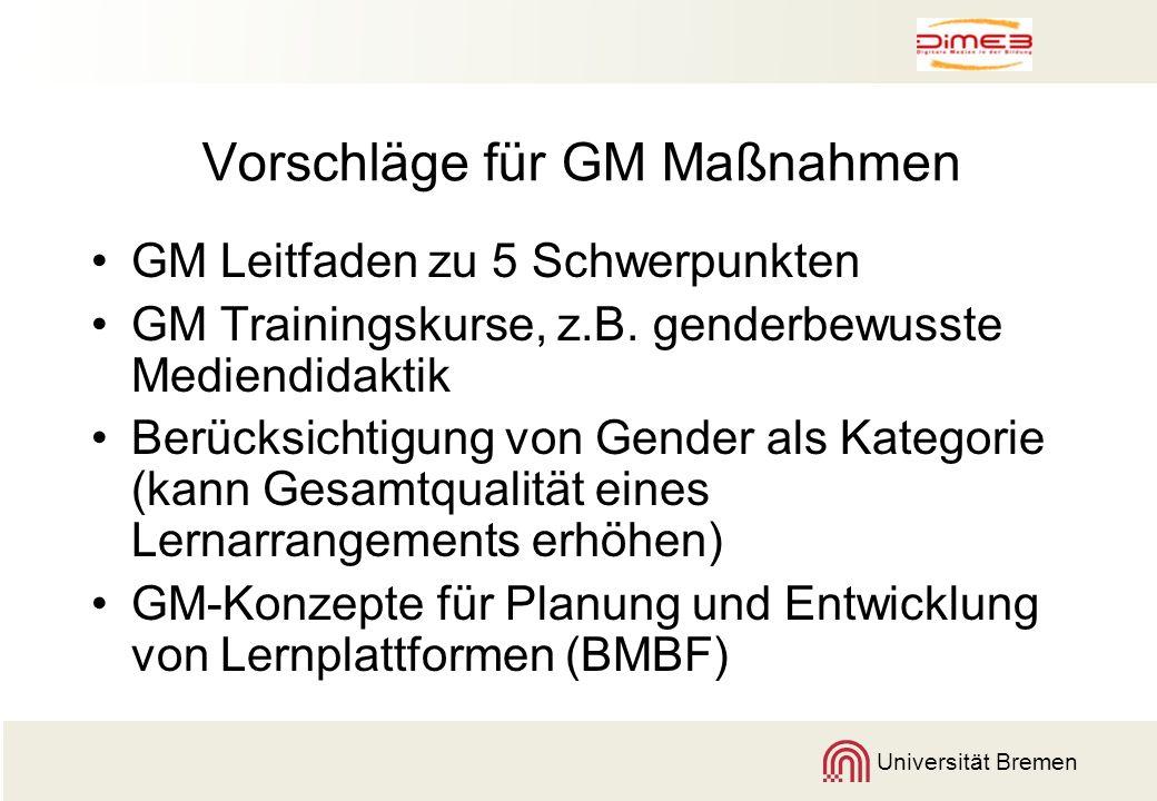 Universität Bremen Vorschläge für GM Maßnahmen GM Leitfaden zu 5 Schwerpunkten GM Trainingskurse, z.B. genderbewusste Mediendidaktik Berücksichtigung