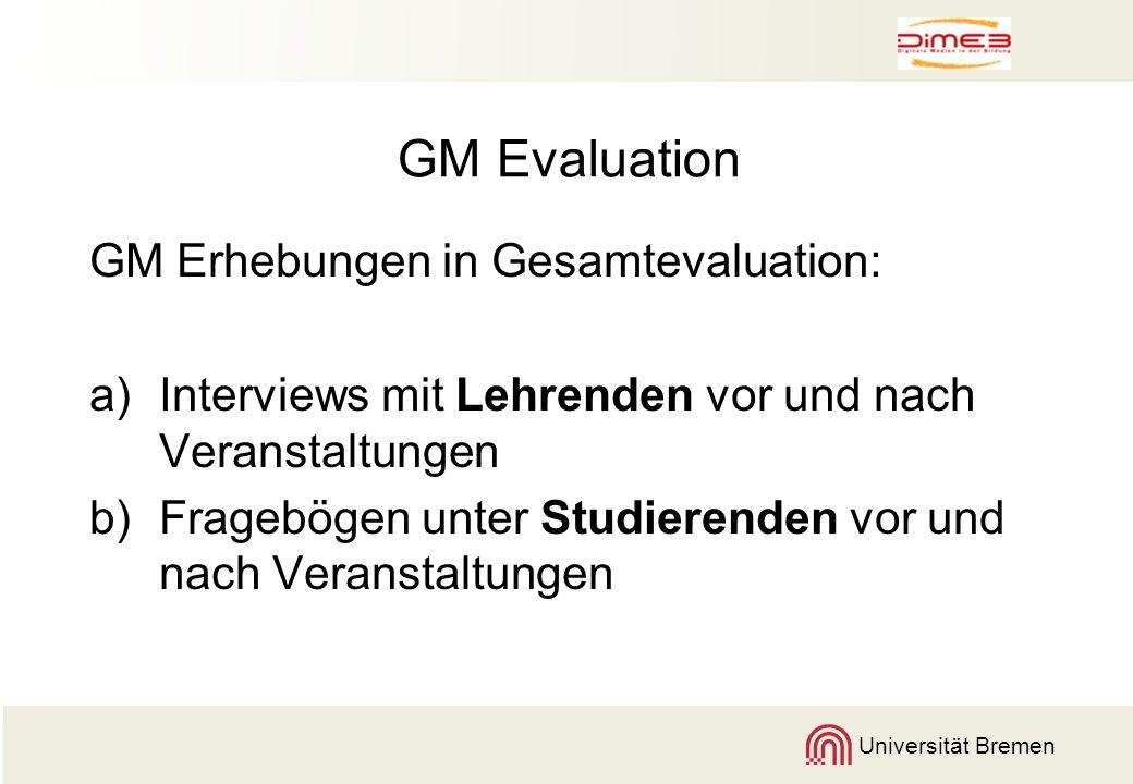 Universität Bremen GM Evaluation GM Erhebungen in Gesamtevaluation: a)Interviews mit Lehrenden vor und nach Veranstaltungen b)Fragebögen unter Studier