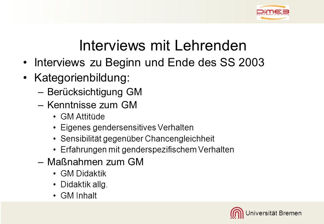 Universität Bremen Interviews mit Lehrenden Interviews zu Beginn und Ende des SS 2003 Kategorienbildung: –Berücksichtigung GM –Kenntnisse zum GM GM At
