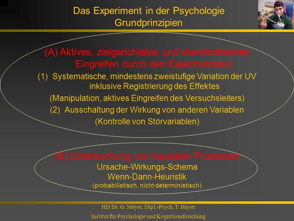 Das Experiment in der Psychologie Grundprinzipien HD Dr. G. Meyer, Dipl.-Psych. T. Hayer Institut für Psychologie und Kognitionsforschung (A) Aktives,