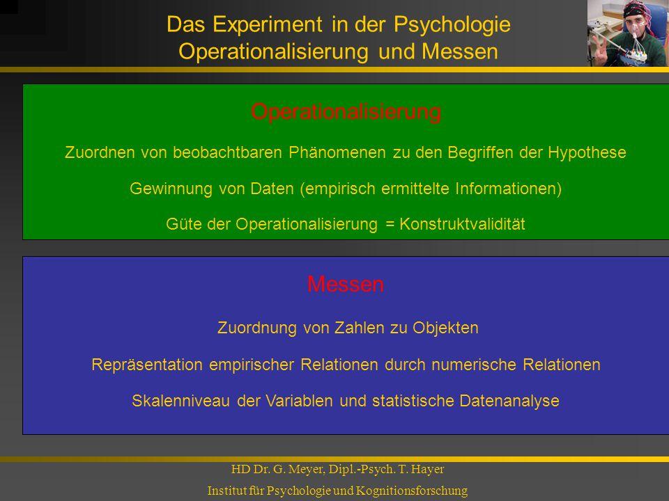 Das Experiment in der Psychologie Operationalisierung und Messen HD Dr. G. Meyer, Dipl.-Psych. T. Hayer Institut für Psychologie und Kognitionsforschu