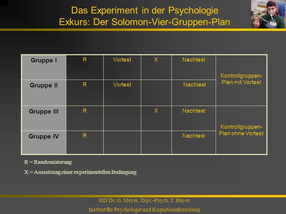 Das Experiment in der Psychologie Exkurs: Der Solomon-Vier-Gruppen-Plan HD Dr. G. Meyer, Dipl.-Psych. T. Hayer Institut für Psychologie und Kognitions