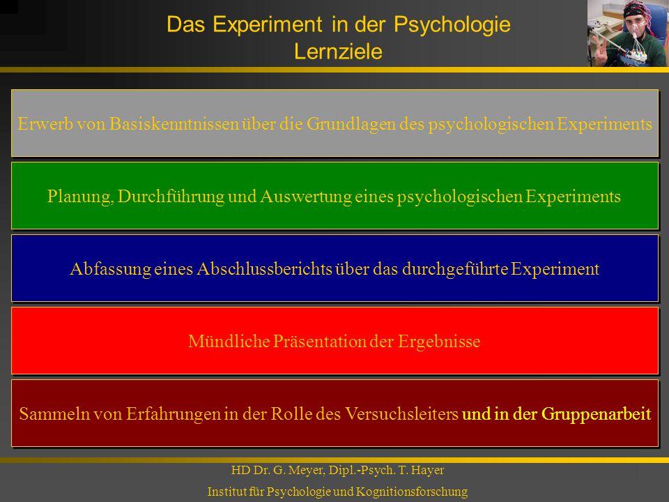 Das Experiment in der Psychologie Lernziele HD Dr. G. Meyer, Dipl.-Psych. T. Hayer Institut für Psychologie und Kognitionsforschung Erwerb von Basiske