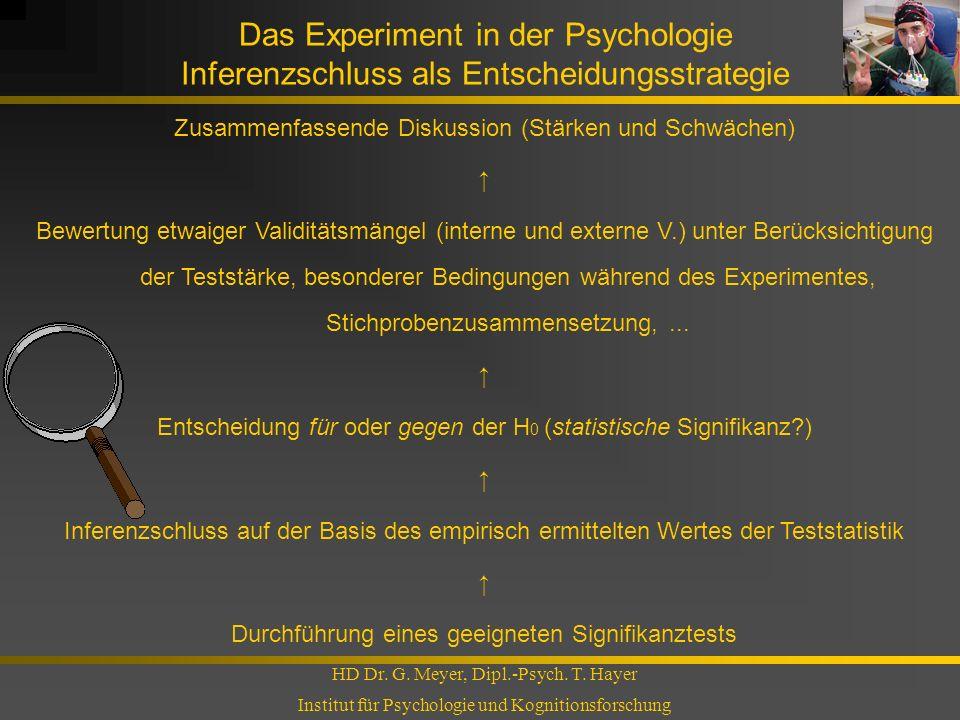 Das Experiment in der Psychologie Inferenzschluss als Entscheidungsstrategie HD Dr. G. Meyer, Dipl.-Psych. T. Hayer Institut für Psychologie und Kogni