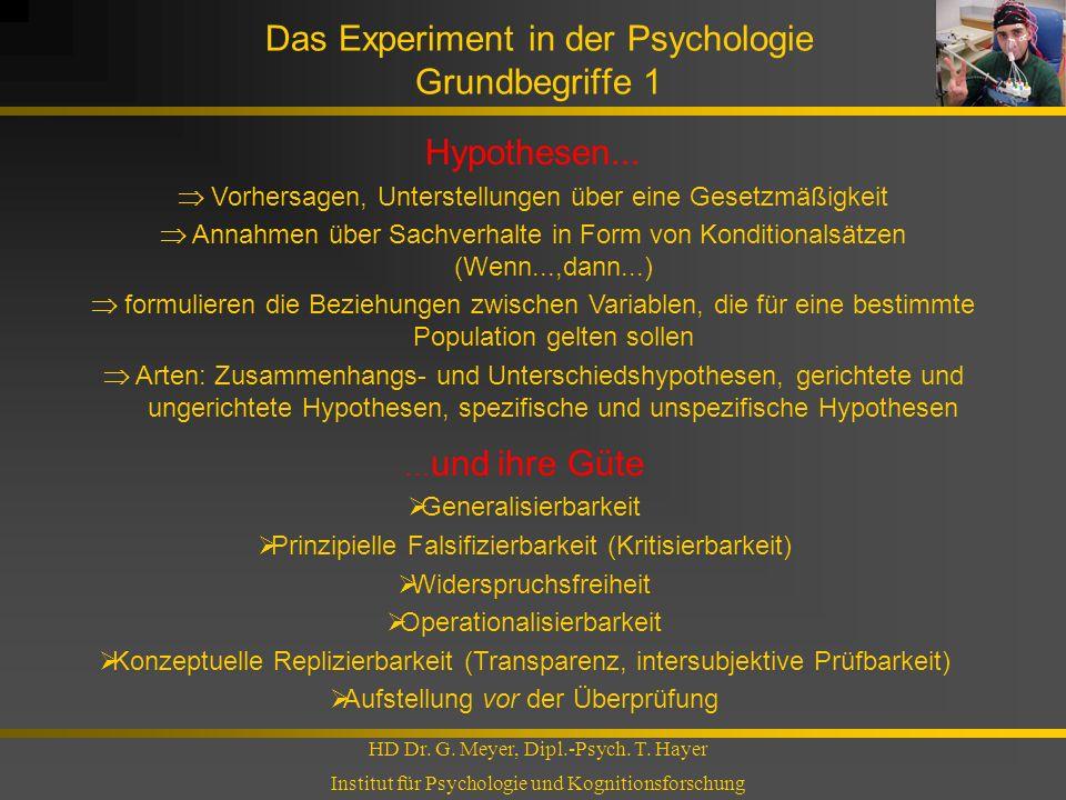 Das Experiment in der Psychologie Grundbegriffe 1 HD Dr. G. Meyer, Dipl.-Psych. T. Hayer Institut für Psychologie und Kognitionsforschung Hypothesen..