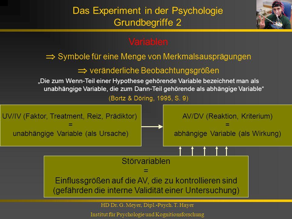 Das Experiment in der Psychologie Grundbegriffe 2 HD Dr. G. Meyer, Dipl.-Psych. T. Hayer Institut für Psychologie und Kognitionsforschung Variablen Sy